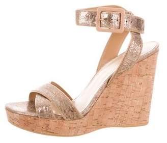 Stuart Weitzman Metallic Leather Wedge Sandals