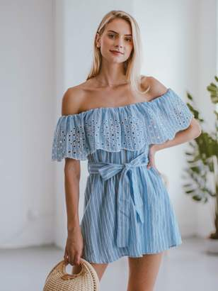 Goodnight Macaroon 'Giselle' Embroidered Ruffle Off The Shoulder Romper