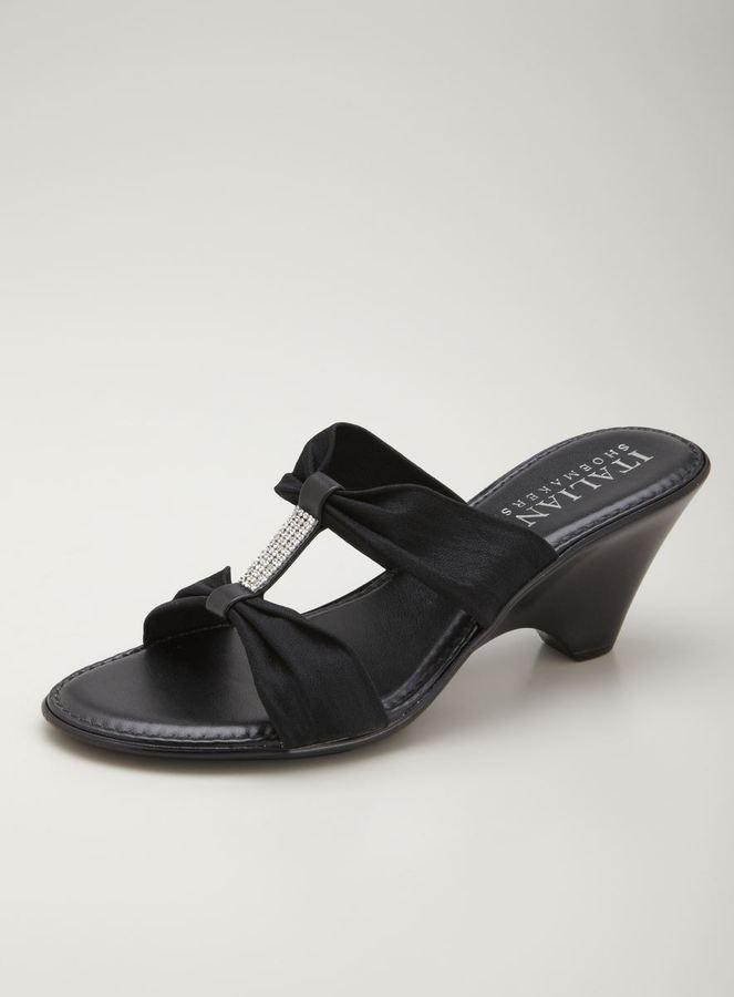 Italian Shoemakers Crystal Studded Mid Heel Wedge Sandal