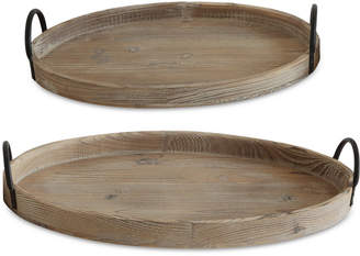 3r Studio Decorative Wood Trays with Metal Handles, Set of 2