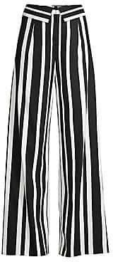 Alice + Olivia Women's Foldover Striped Wide-Leg Pants - Size 0