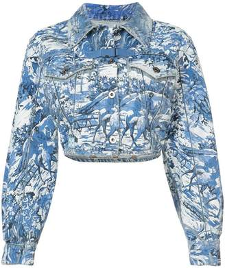Off-White cropped printed denim jacket