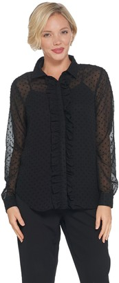 Brooke Shields Timeless BROOKE SHIELDS Timeless Button Front Blouse with Ruffle