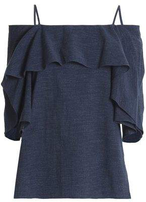 Halston Cold-Shoulder Ruffled Cotton-Chambray Top
