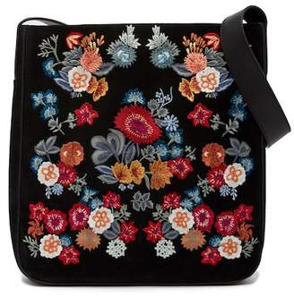 Lucky Brand Super Bloom Floral Embroidered Suede Shoulder Bag