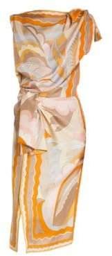 Emilio Pucci Silk Shoulder & Waist Tie Print Dress