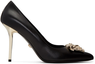 Versace Black Leather Medusa Heels $895 thestylecure.com