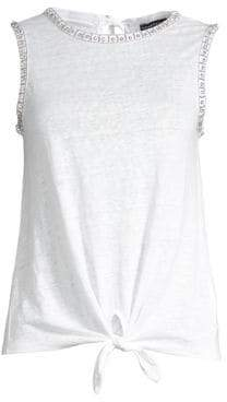 Generation Love Women's Phoebe Crystal Linen Tank Top - White - Size Large