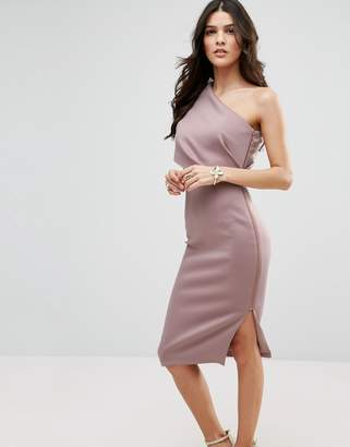 ASOS One Shoulder Scuba Deep Fold Midi Dress with Exposed Zip $73 thestylecure.com