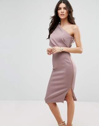 Asos One Shoulder Scuba Deep Fold Midi Dress with Exposed Zip