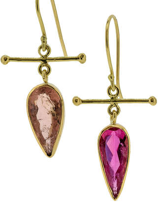 Lori Kaplan Jewelry Mix-Match Pink Rubellite and Tourmaline 18k Gold Drop Earrings