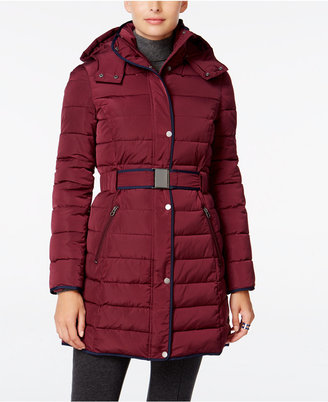 Tommy Hilfiger Contrast-Trim Hooded Puffer Coat $245 thestylecure.com