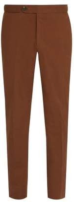 Ermenegildo Zegna Tailored Cotton Blend Trousers - Mens - Brown