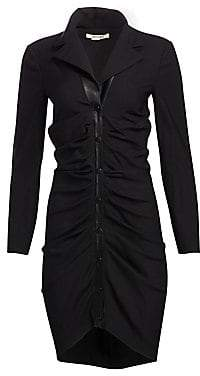 Roberto Cavalli Women's Long-Sleeve Ruched-Front Leather Detail Dress