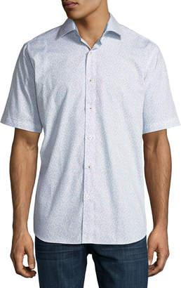 Bugatchi Short-Sleeve Classic-Fit Mini Anchors Sport Shirt