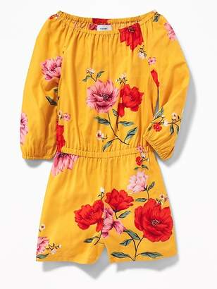 Old Navy Floral Cinched-Waist Romper for Girls