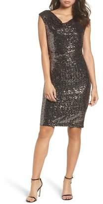 Eliza J Drape Neck Sequin Embellished Sheath Dress
