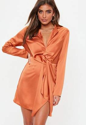 Missguided Terracotta Slinky Plunge Wrap Shift Dress