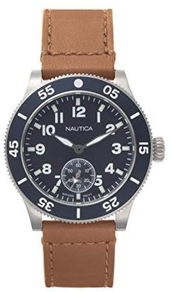 Nautica Men's 'Houston' Quartz Stainless Steel and Leather Sport Watch