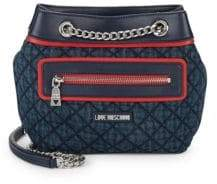 Love Moschino Quilted Denim & Faux Leather Shoulder Bag