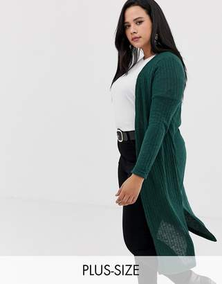 New Look Plus Curve maxi cardi in dark green
