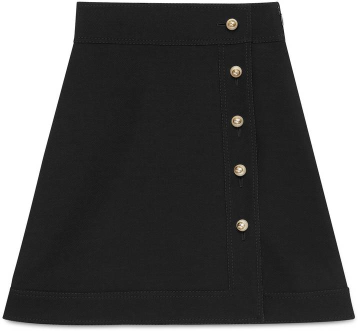 Wool-silk high-waist skirt