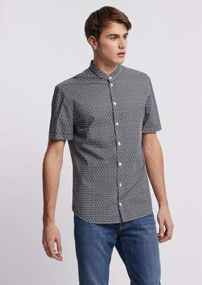 Emporio Armani Printed Cotton Short-Sleeved Shirt