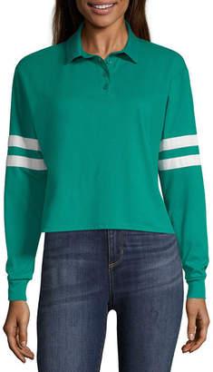Arizona Long Sleeve Knit Polo Shirt - Juniors