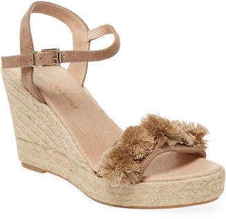 Saks Fifth Avenue Suede Pom-Pom Wedge Sandal