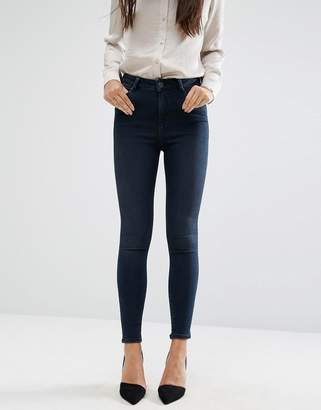 ASOS Ridley High Waist Skinny Jeans in Vivienne Deep Dark Wash Blue $43 thestylecure.com