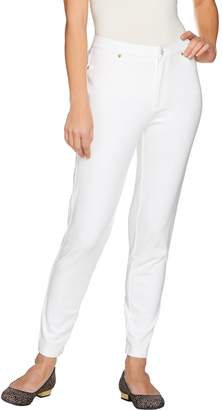 Isaac Mizrahi Live! Petite Knit Denim Ankle Jeans w/ Zipper Detail
