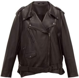 Maison Margiela Oversized Belted Leather Biker Jacket - Womens - Black