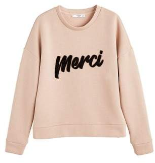 MANGO Message textured sweatshirt
