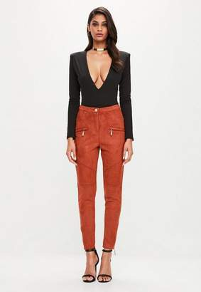 Missguided Orange Button Detail Faux Suede Skinny Pants