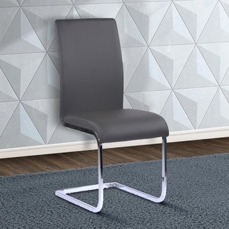 Armen Living Amanda Contemporary Side Chair in Gray Faux Leather and Chrome Finish - Set of 2