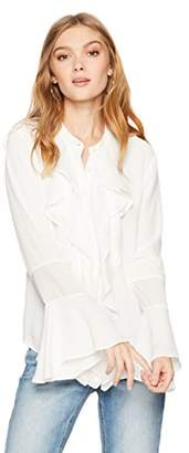 Ella Moon Women's Robyn Sheer Ruffle Button Down Top
