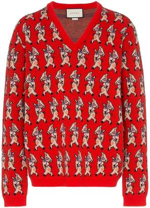 Gucci wool pig print V-neck sweater