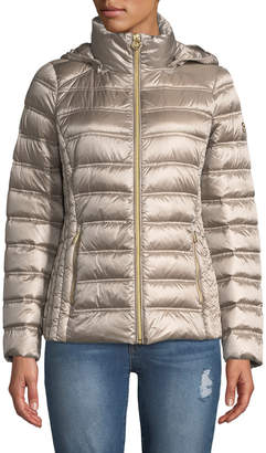 MICHAEL Michael Kors Short Packable Puffer Jacket with Removable Hood