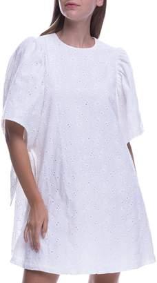 ENGLISH FACTORY Shirred Sleeveless Cotton Eyelet Dress