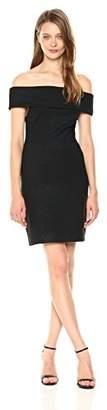 Halston Women's Short Sleeve Off Shoulder Fitted Shimmer Knit Dress