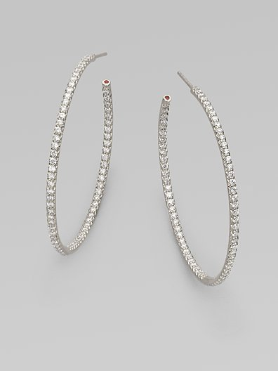 Roberto Coin Diamond & 18K White Gold Hoop Earrings/1¾