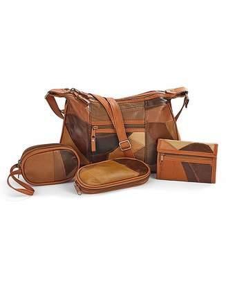 At Fashion World 4 Piece Patchwork Leather Handbag Set