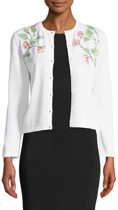 Carolina Herrera 3/4-Sleeve Button-Down Cardigan w/ Floral Leaf Embroidery