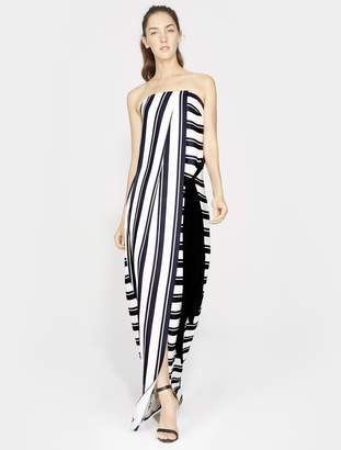 Halston STRAPLESS STRIPED TIE WAIST DETAIL GOWN