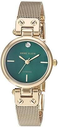 Anne Klein Women's AK/3002GNGB Diamond-Accented Gold-Tone Mesh Bracelet Watch