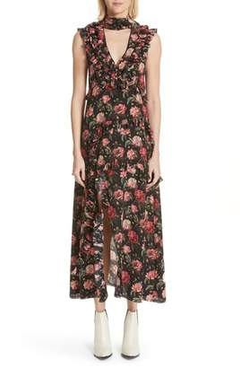 R 13 Floral Ruffle Silk Choker Dress