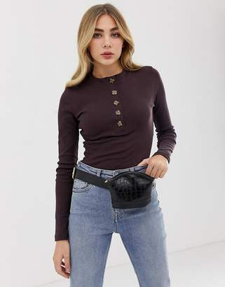 Missguided high neck long sleeved button down body in chocolate
