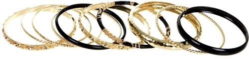 Ornate Black & Gold Bangle Set