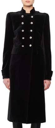 Tom Ford Double-Breasted Stand-Collar Velvet Military Coat