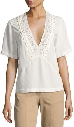 A.L.C. Annora Short-Sleeve Silk Top, Beige